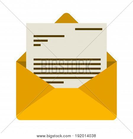 white background with colorful envelope mail opened with letter vector illustration