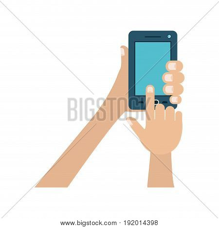 white background with colorful hands holding smartphone vector illustration