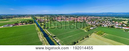 Aerial view of the Rhone - Rhine Canal near Strasbourg in Alsace, France