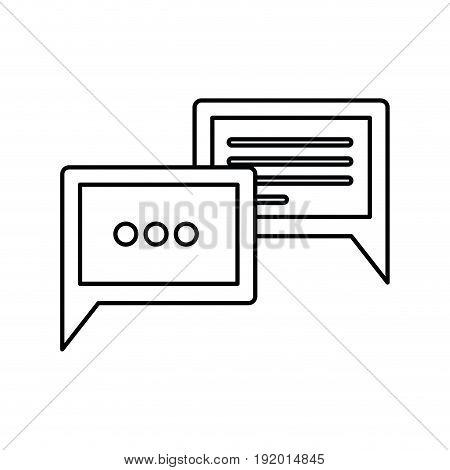 white background with monochrome silhouette of speech dialogues vector illustration
