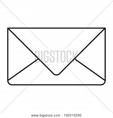 white background with monochrome silhouette of envelope mail in closeup vector illustration