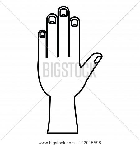 white background with monochrome silhouette of left hand vector illustration
