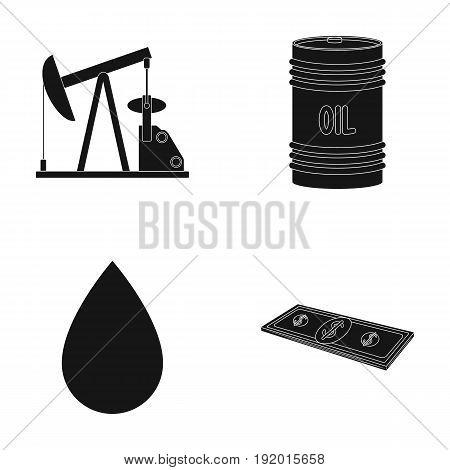 Pump, barrel, drop, petrodollars. Oil set collection icons in black style vector symbol stock illustration .