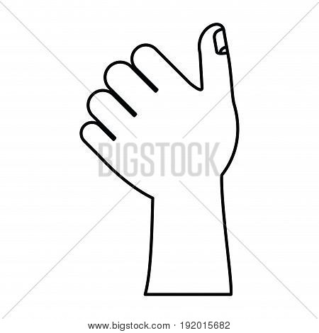white background with monochrome silhouette of left hand thumb up vector illustration