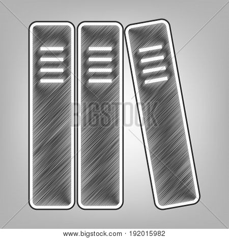Row of binders, office folders icon. Vector. Pencil sketch imitation. Dark gray scribble icon with dark gray outer contour at gray background.