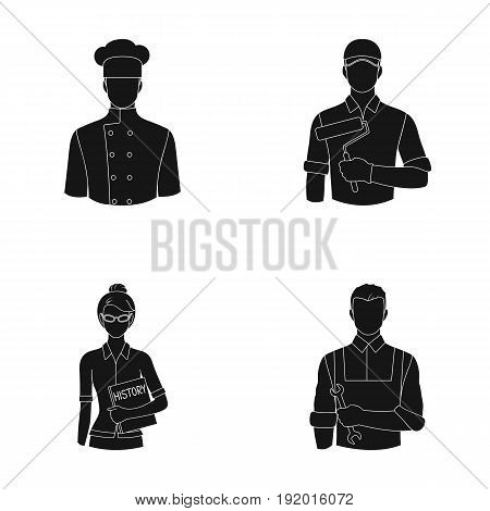 Cook, painter, teacher, locksmith mechanic.Profession set collection icons in black style vector symbol stock illustration .