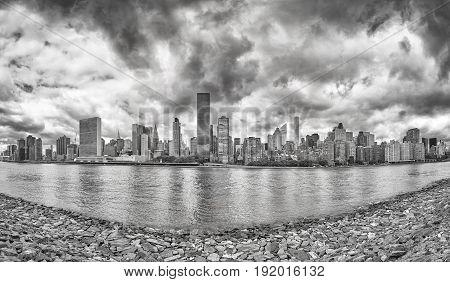 Black And White Manhattan Panorama, New York City, Usa.