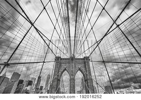 Wide Angle Black And White Picture Of Brooklyn Bridge, Nyc.