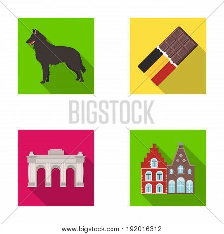 Chocolate, cathedral and other symbols of the country.Belgium set collection icons in flat style vector symbol stock illustration .