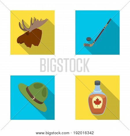A canadian policeman's hat, a bottle of maple syrup and other Canadian symbols.Canada set collection icons in flat style vector symbol stock illustration .