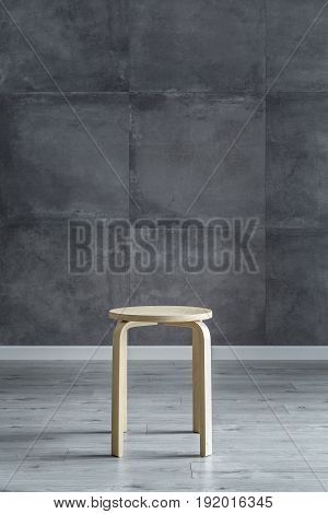 Wooden Stool And Cement Wall