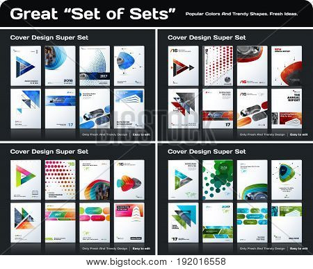 Abstract business design, annual report, vector template brochure. Cover modern layout, flyer in A4 with colourful geometric shapes for print, internet with light background. Mega set.