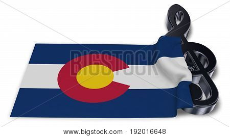 clef symbol and flag of colorado - 3d rendering