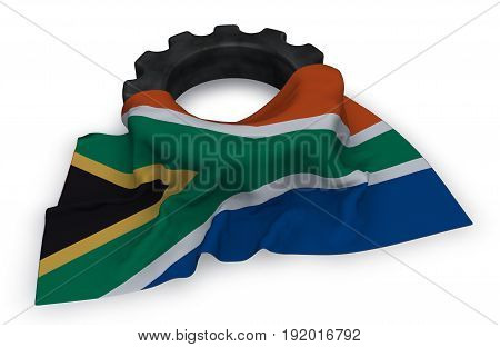 gear wheel and flag of south africa - 3d rendering