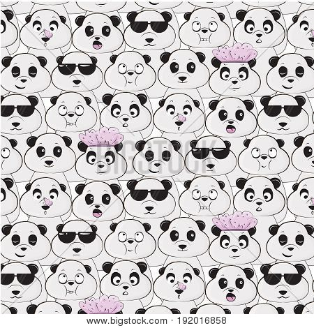 Vector panda species pattern. Diversity of black white bears cartoon print. Happy childish decoration with cute funny animals. Fabric wildlife face graphic texture.