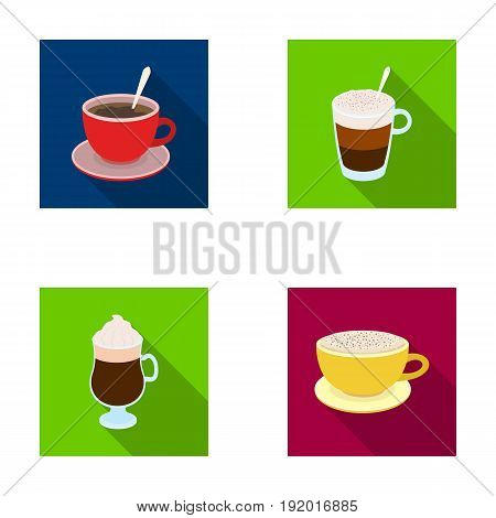 American, late, irish, cappuccino.Different types of coffee set collection icons in flat style vector symbol stock illustration .