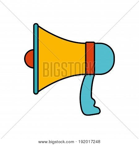 white background with colorful silhouette of megaphone with thick contour vector illustration
