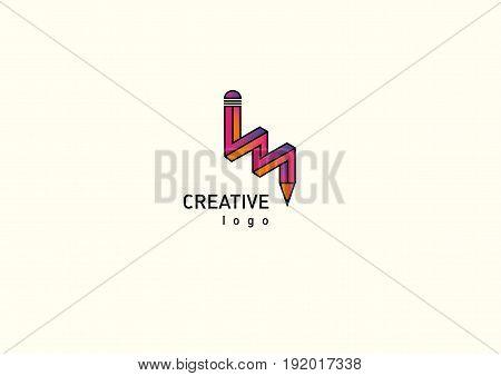 Contour red modern logo illusion pencil gradient