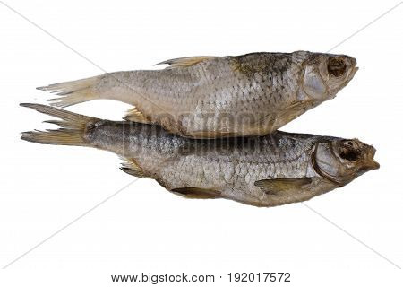 Two Dried Salted Roach Fish On A Isolated White Background