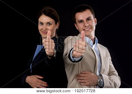 Business partners. Young female and male business