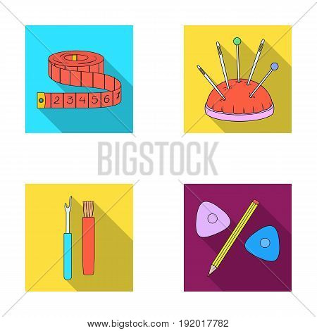 Measuring tape, needles, crayons and pencil.Sewing or tailoring tools set collection icons in flat style vector symbol stock illustration .