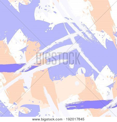 Vector easy brushstroke pattern in pastel colors. Minimal clothes expressive strokes. Paint concept hand drawn design.