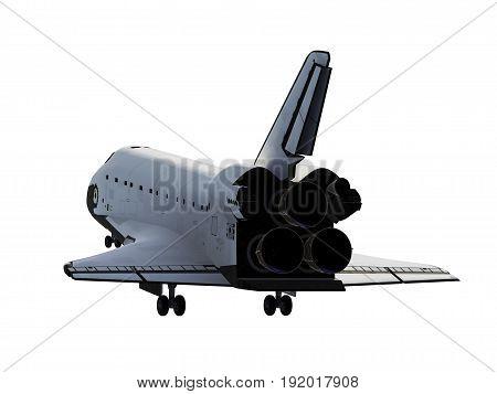 Space Shuttle Landing On White Background. 3D Illustration.