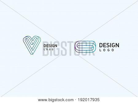 Set modern logos, illusion in style gradient