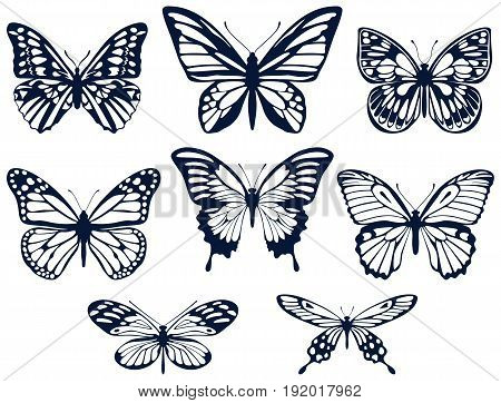 Vector set of non-continuous silhouettes of butterflies in a flat style on a white background.