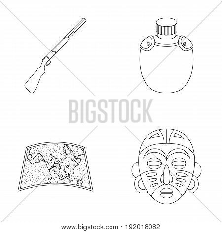 Hunting rifle, flask in the case, map, African mask. African safari set collection icons in outline style vector symbol stock illustration .