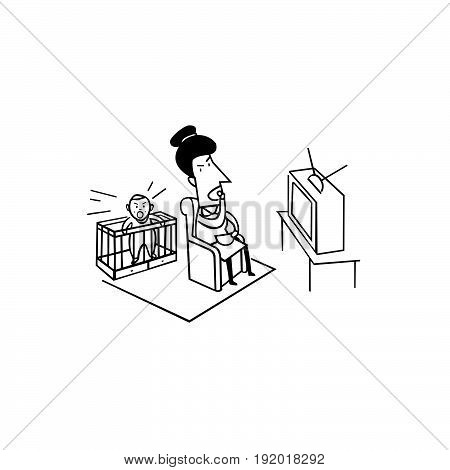 cry baby with mom watching tv. bad parenting illustration