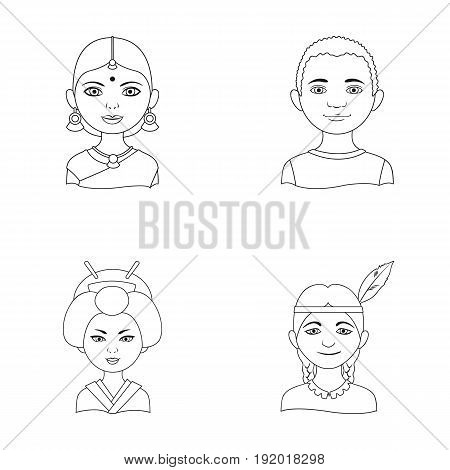 Indian woman, african, japanese, indian. Human race set collection icons in outline style vector symbol stock illustration .