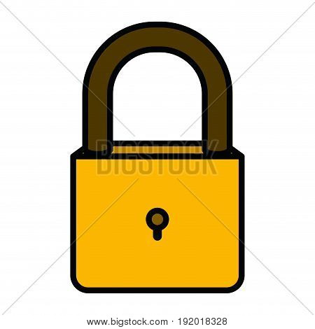 white background with colorful silhouette of padlock with thick contour vector illustration