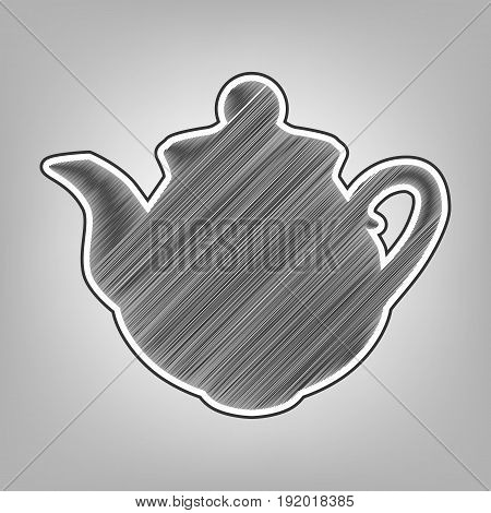 Tea maker sign. Vector. Pencil sketch imitation. Dark gray scribble icon with dark gray outer contour at gray background.