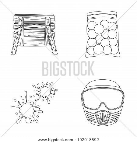 Wooden barricade, protective mask and other accessories. Paintball single icon in outline style vector symbol stock illustration .