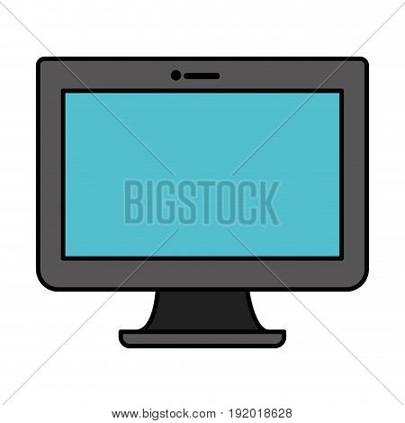 white background with blue lcd monitor with thick contour vector illustration