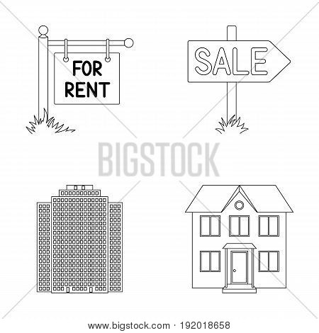 Signs of sale and rent, a skyscraper, a two-story cottage.Realtor set collection icons in outline style vector symbol stock illustration .