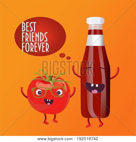 Tomato and a bottle of sauce characters. Funny hipster Tomato mascot and happy dancing ketchup bottle. Best Friends Forever vector illustration.