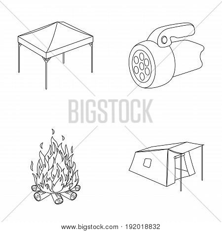Awning, fire and other tourist equipment.Tent set collection icons in outline style vector symbol stock illustration .