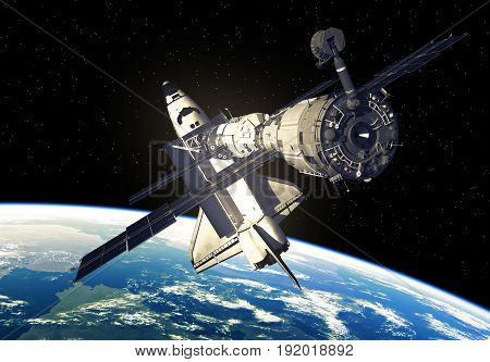 Space Shuttle And Space Station Over The Earth. 3D Illustration.