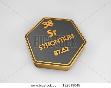 strontium - Sr - chemical element periodic table hexagonal shape 3d render