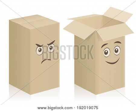 Comic carton boxes with angry and happy face, closed and opened - isolated vector illustration on white background.