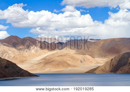 Pangong Tso Highland Lake In The Himalayas With The Fantastic Play Of Light And Shadow In The Surrou