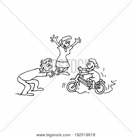 child Learn bike with parent. cartoon Vector Illustration design