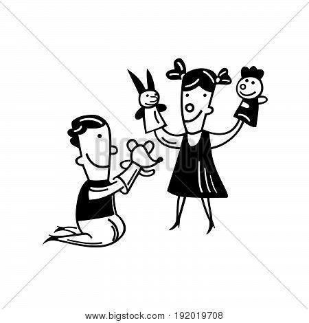 kids play doll. cartoon Vector Illustration design