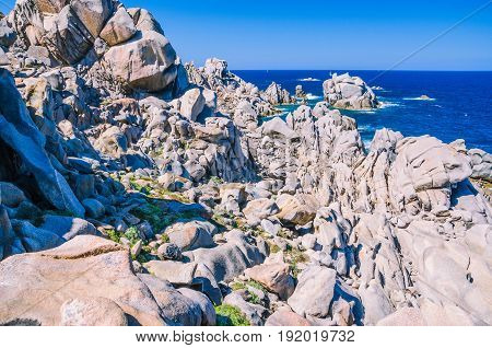 Huge Granite Rocks formations in Capo Testa in north Sardinia, Italy.