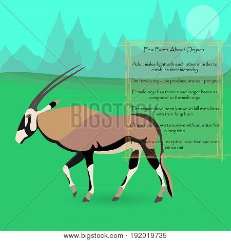 African Oryx Gazella or Gemsbok Against Symplistic Nature Background and Poster with Few Interesting Facts about this Animal. Educational Card for Childrens Schooling. Vector EPS 10
