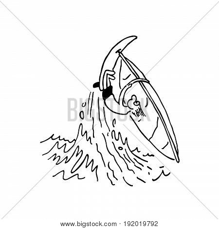boy playing windsurfing . cartoon Vector Illustration design
