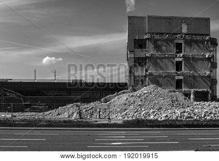 Last remains of a destroyed building on a sunny day