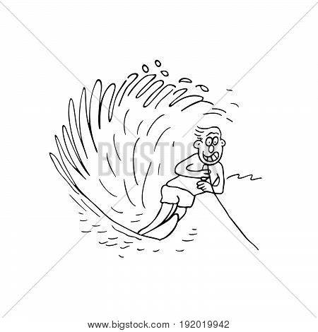 boy surfing . cartoon Vector Illustration design